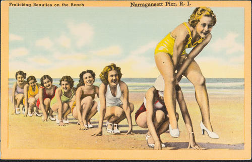 Frolicking Beauties on the Beach. Narragansett Pier, R.I.
