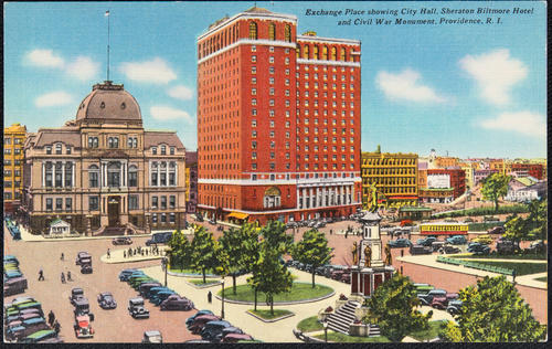 Exchange Place showing City Hall, Sheraton Biltmore Hotel and Civil War Monument, Providence, R.I.