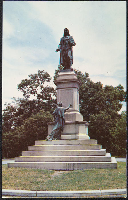 Bronze statue of Roger Williams designed by Franklin Simmons of Rome, Italy.