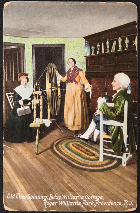 Old time spinning, Betsy Williams Cottage, Roger Williams Park, Providence, R.I.