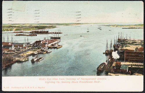Bird's Eye View from chimney of Narragansett Electric Lighting Co., looking down Providence River