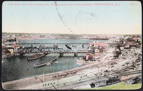 View from Fort Hill, showing four bridges across the Seekonk River, Providence, R.I.