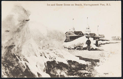 Ice and snow scene on beach, Narragansett Pier, R.I.
