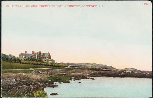 Cliff Walk showing Sherry Brooks residence, Newport, R.I.