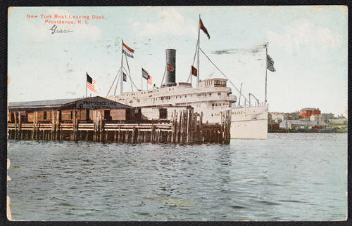 New York boat leaving dock, Providence, R.I.