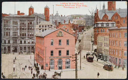 Looking up College Hill, showing Board and Trade Bldg., Providence, R.I.