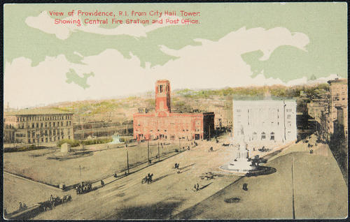 View of Providence, R.I. from City Hall Tower. Showing Central Fire Station and Post Office.