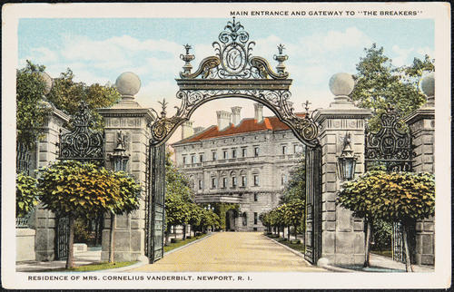 "Main entrance and gateway to ""The Breakers"". Residence of Mrs. Cornelius Vanderbilt, Newport, R.I."