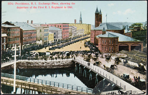 Providence, R.I. Exchange Place showing the departure of the First R.I. Regiment in 1861