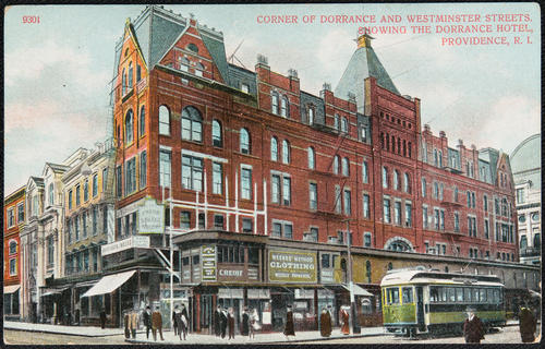 Corner of Dorrance and Westminster Streets, showing the Dorrance Hotel, Providence, R.I.