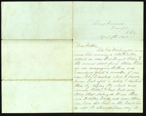Letter from George Turner to his Father, 09 Apr 1863