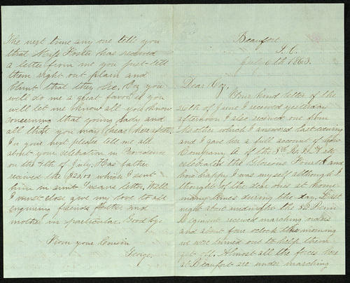 Letter from George Turner to his Cousin, 06 Jul 1863