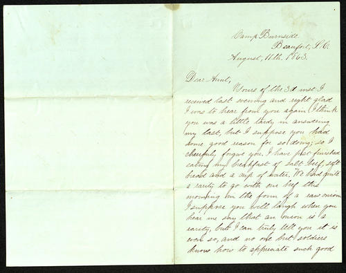 Letter from George Turner to his Aunt, 11 Aug 1863