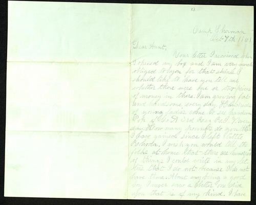 Letter from George Turner to his Aunt, 08 Oct 1861