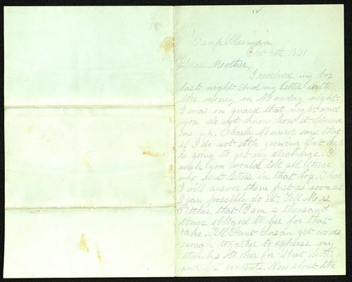 Letter from George Turner to his Mother, 04 Oct 1861
