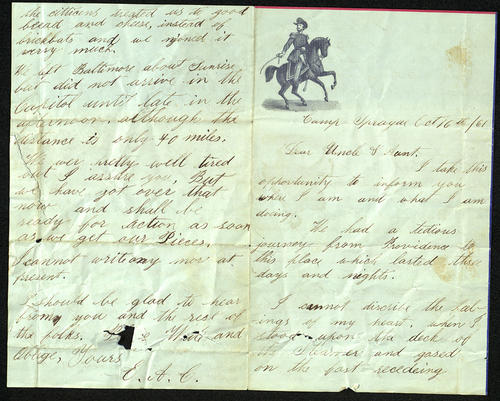 Letter from E.A. Chandler to his Uncle and Aunt, 16 Oct 1861