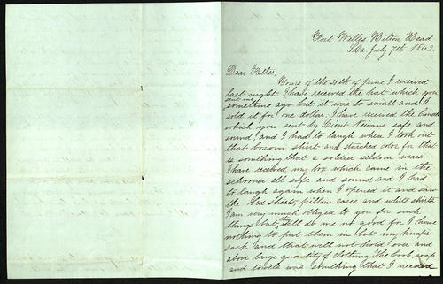 Letter from George Turner to his Father, 07 Jul 1862