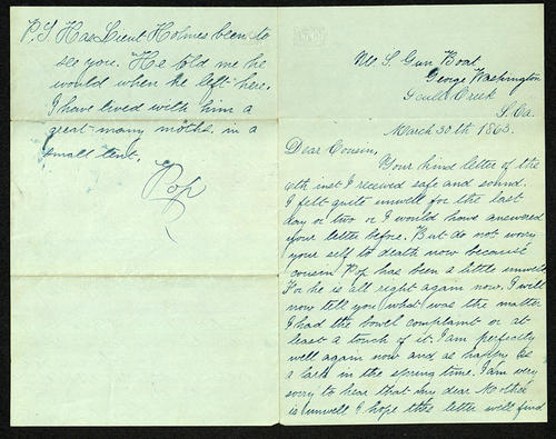 Letter from George Turner to his Cousin, 30 Mar 1863