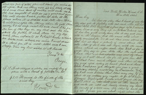 Letter from George Turner to his Cousin, 13 Dec 1861