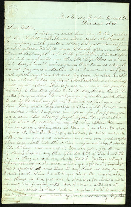 Letter from George Turner to his Father, 02 Dec 1861