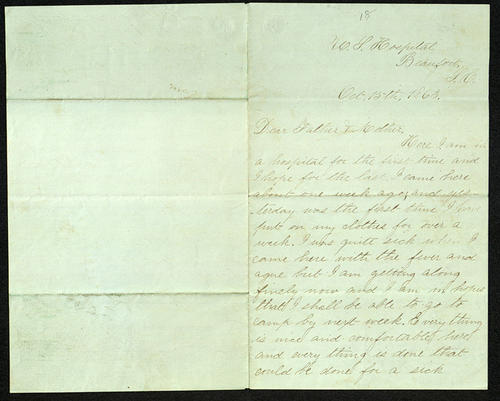 Letter from George Turner to his Parents, 13 Oct 1863