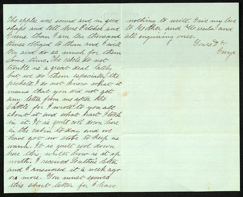 Letter from George Turner to his Father, 17 Dec 1862