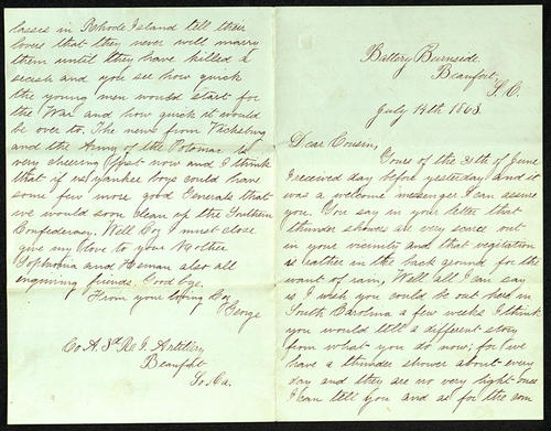 Letter from George Turner to his Cousin, 14 Jul 1863