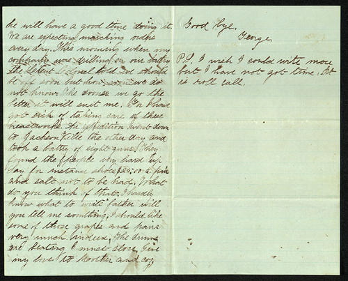 Letter from George Turner to his Father, 12 Oct 1862