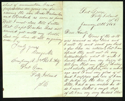 Letter from George Turner to his Aunt, 12 Jan 1864