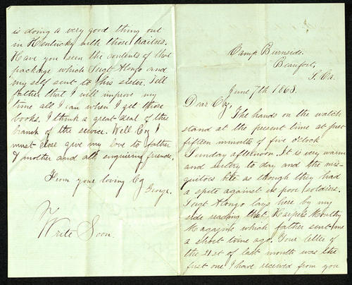 Letter from George Turner to his Cousin, 07 Jun 1863