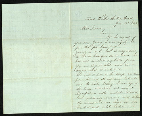 Letter from George Turner to his Mr. Turner, 13 Jun 1862
