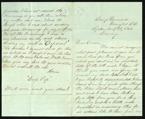 Letter from George Turner to his Cousin Tony (Sophronia), 19 Sep 1863
