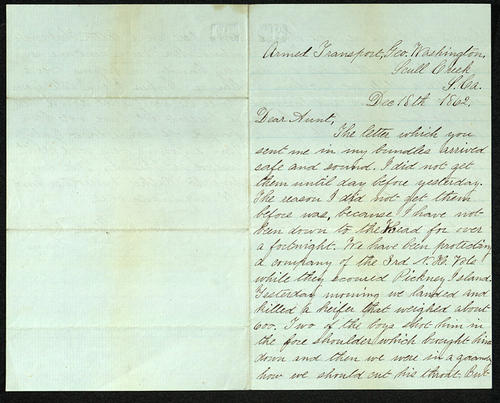 Letter from George Turner to his Aunt, 18 Dec 1862