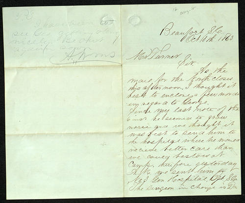 Letter from Alonzo Williams to Mr. Turner, 18 Oct 1863