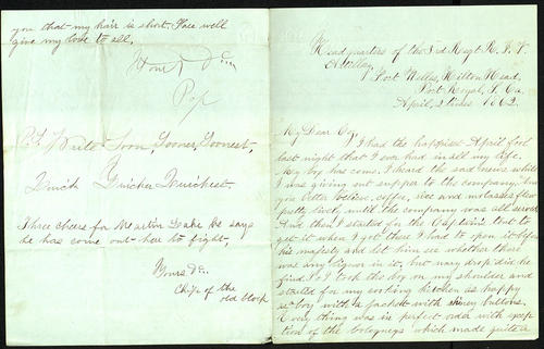Letter from George Turner to his Cousin, 02 Apr 1862