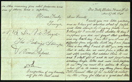 Letter from George Turner to his Parents, 17 Nov 1861