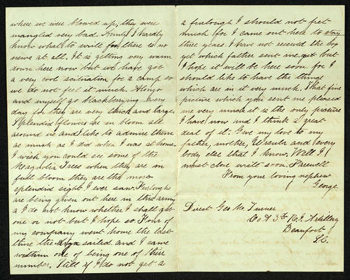 Letter from George Turner to his Aunt, 18 May 1863