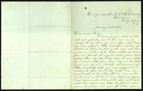 Letter from George Turner to his Cousin Mary, 24 Jan 1864
