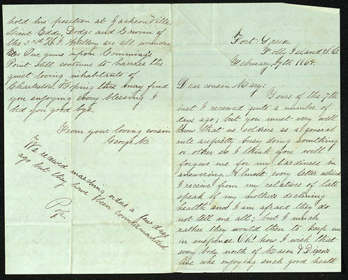 Letter from George Turner to his Cousin Mary, 29 Feb 1864
