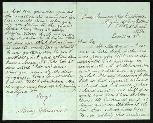 Letter from George Turner to his Cousin, 23 Dec 1862