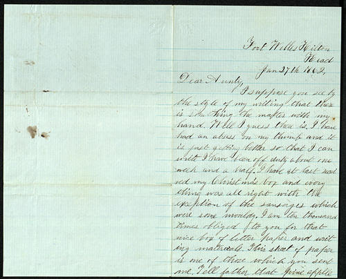 Letter from George Turner to his Aunt, 27 Jan 1862