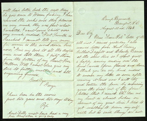 Letter from George Turner to his Cousin, 22 Aug 1863