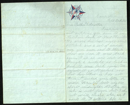 Letter from George Turner to his Parents, 20 Sep 1861