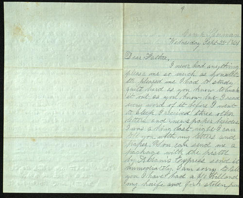 Letter from George Turner to his Parents, 25 Sep 1861