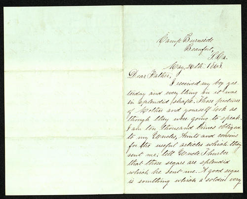 Letter from George Turner to his Father, 26 May 1863