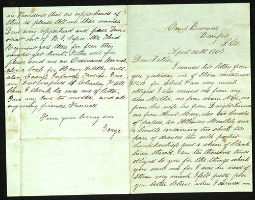 Letter from George Turner to his Father, 26 Apr 1863