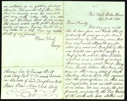 Letter from George Turner to his Aunt, 24 Nov 1861