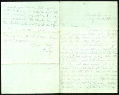 Letter from George Turner to his Aunt Mary, 29 Sep 1861
