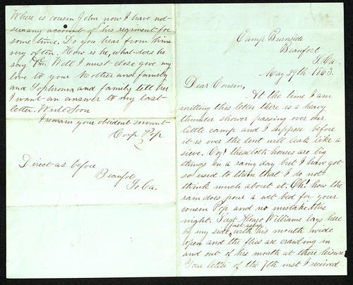 Letter from George Turner to his Cousin, 29 May 1863