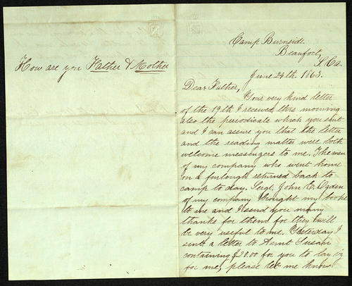 Letter from George Turner to his Father, 24 Jun 1863